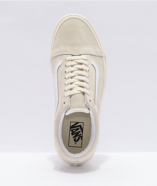Vans Old Skool Pig Suede Marshmallow White Skate Shoes