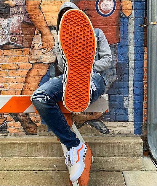 Vans Old Skool Pro Checkerboard White & Orange Skate Shoes