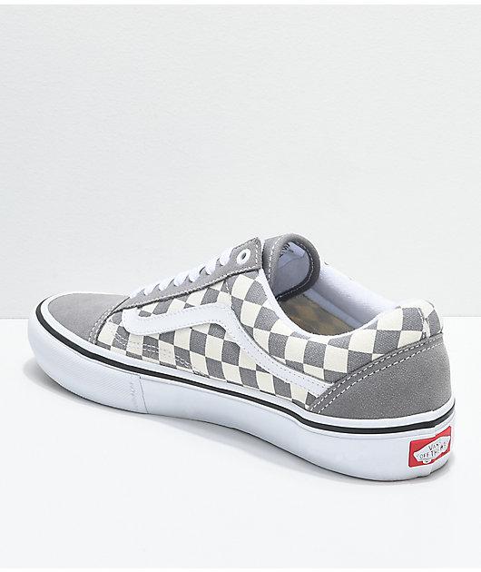 Vans Old Skool Pro Grey Checker & White Skate Shoes
