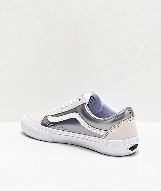 Vans Old Skool Pro Iridescent Silver & True White Skate Shoes