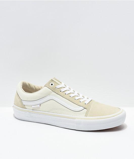 Vans Old Skool Pro Marshmallow & White Skate Shoes