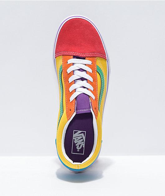 Vans Old Skool Rainbow Colorblock Skate Shoes