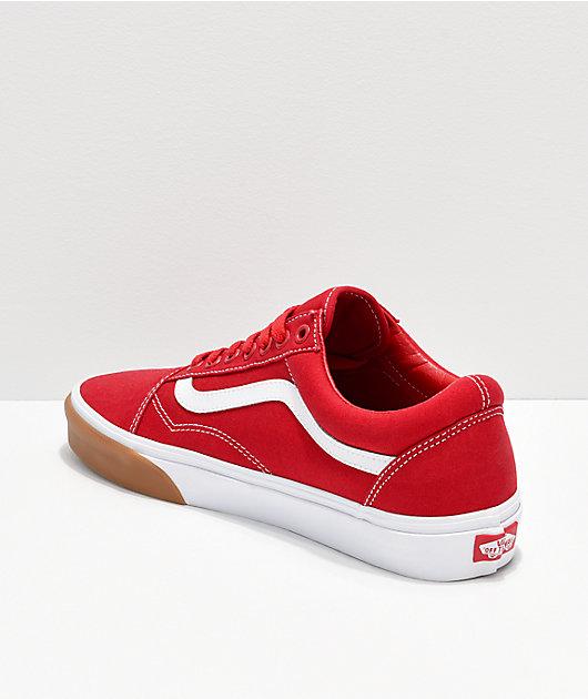 Vans Old Skool Red, White & Gum Bumper Skate Shoes