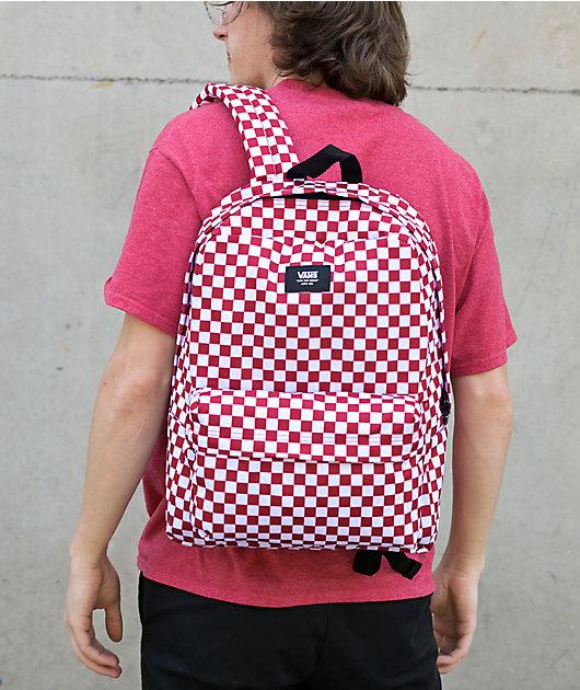 Vans Old Skool Red & White Checkerboard Backpack