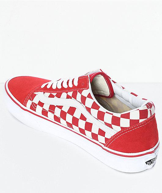Vans Old Skool Red & White Checkered Skate Shoes