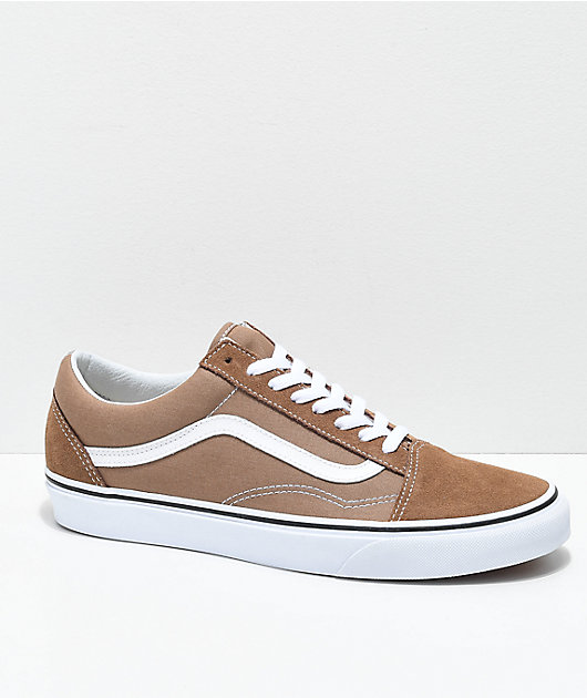 Vans Old Skool Tiger Eye Tan & White Skate Shoes