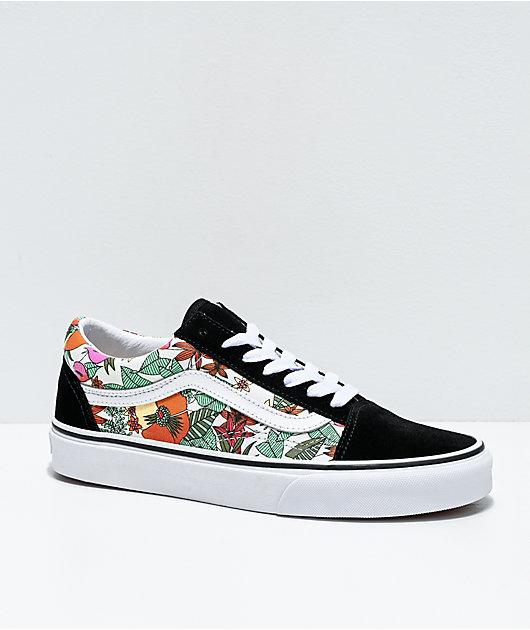 Vans Old Skool Tropic Multi, Black & White Skate Shoes