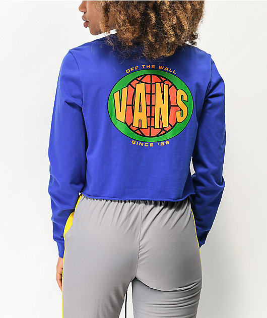 Vans Ovaloid Blue Crop Long Sleeve T-Shirt