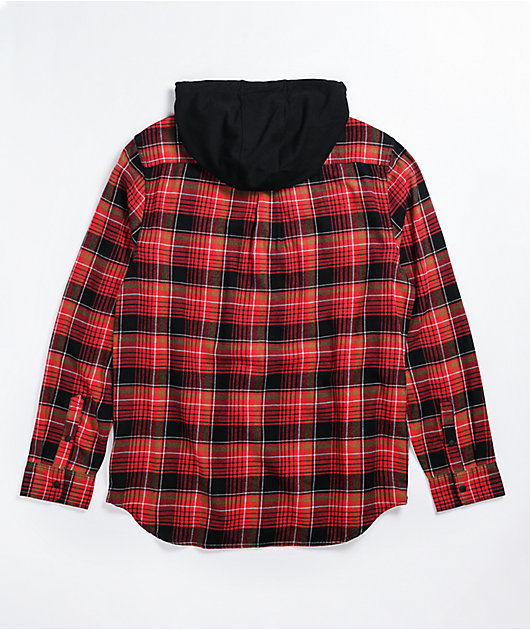 Vans Parkway Black & Chili Hooded Flannel Shirt