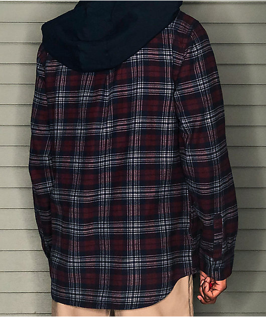Vans Parkway II Navy Blue & Red Hooded Flannel Shirt