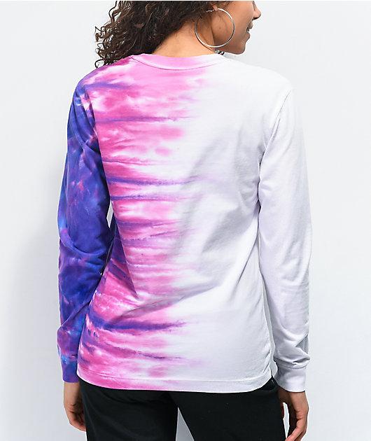 Vans Pink, Purple & White Tie Dye Long Sleeve T-Shirt