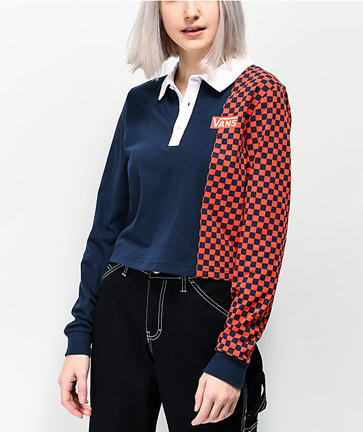 Vans Pro Stitched Navy Crop Long Sleeve Polo Shirt