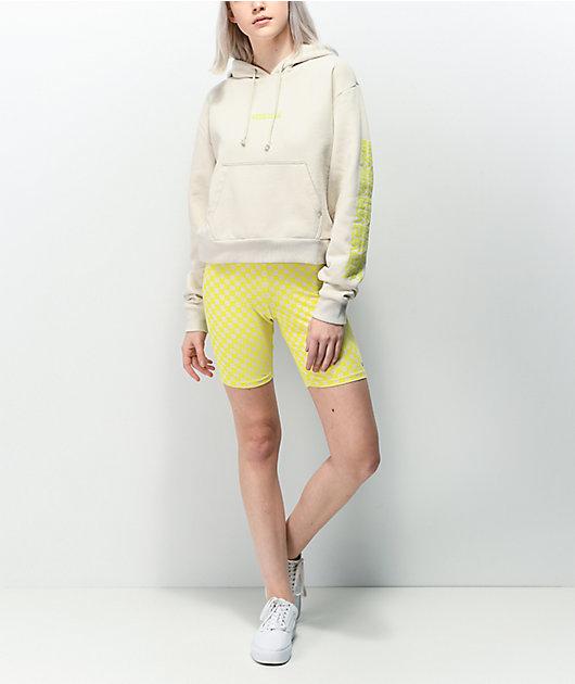 Vans Quantum Checkerboard shorts de ciclismo en amarillo y gris