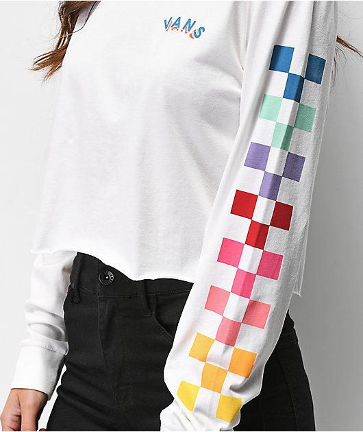Vans Rain Checks camiseta corta de manga larga blanca