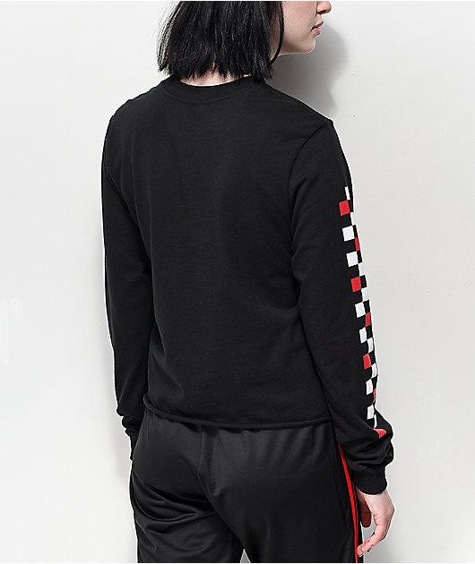 Vans Red & White Checkerboard Black Crop Long Sleeve T-Shirt