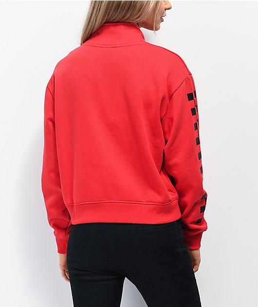 Vans Red Quarter-Zip Checkerboard Sleeve Sweatshirt