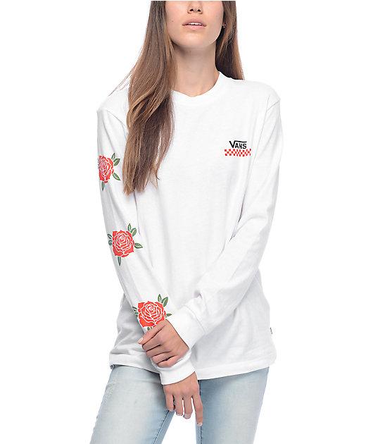 Vans Red Rose White Long Sleeve T-Shirt