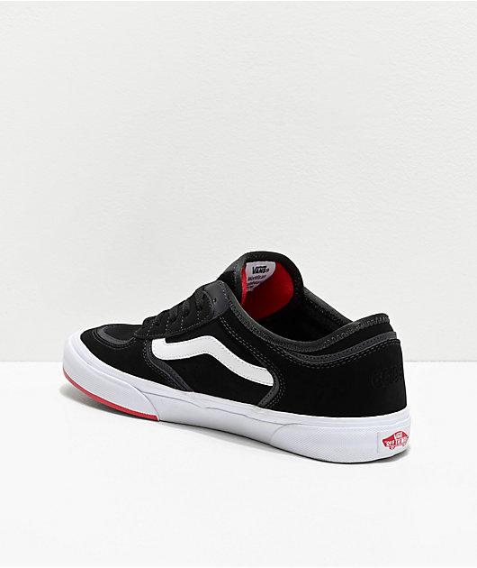 Vans Rowley Classic zapatos negros, blancos y rojos