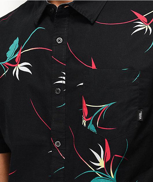 Vans Shade Black Floral Woven Short Sleeve Button Up Shirt