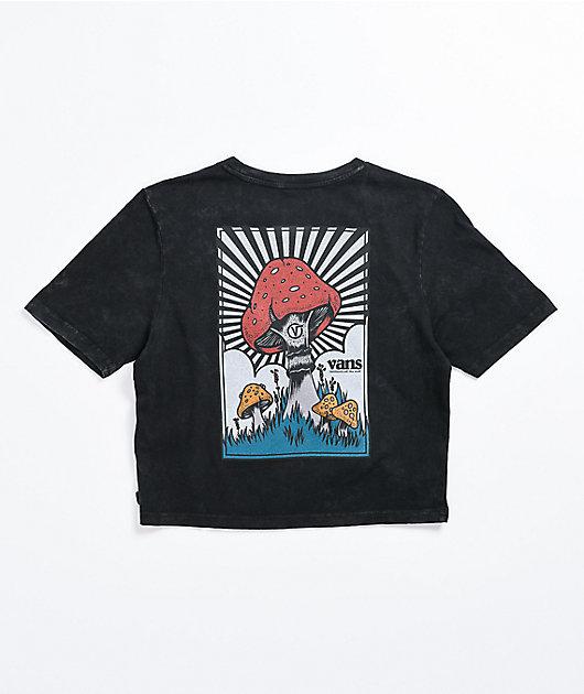 Vans Shrooms Mineral Wash Black Crop T-Shirt