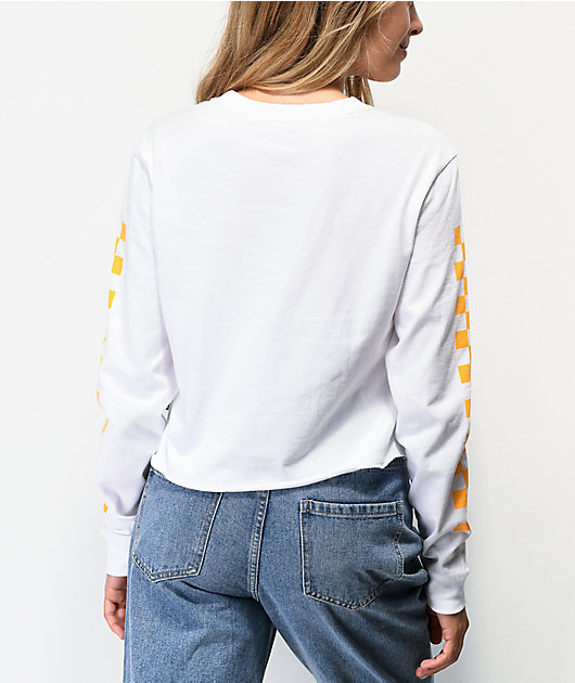 Vans Sideline White Crop Long Sleeve T-Shirt