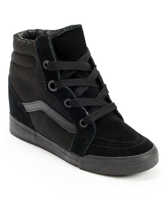 Vans Sk8-Hi All Black Wedge Shoes | Zumiez