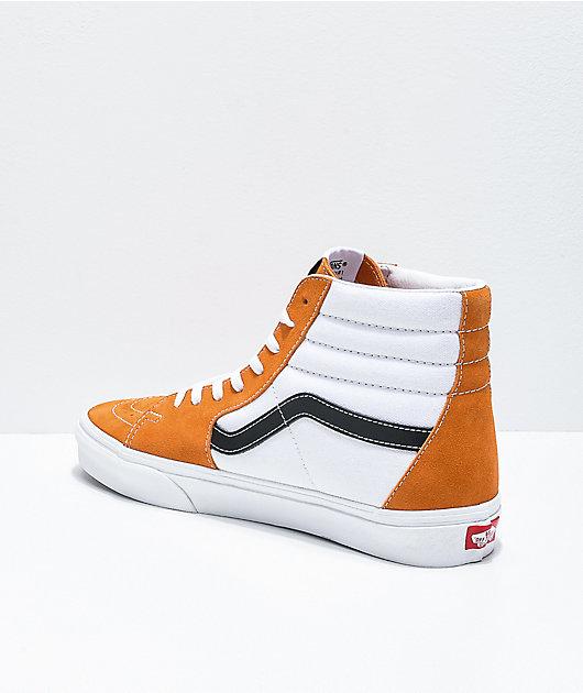 Vans Sk8-Hi Apricot Orange, White & Black Skate Shoes