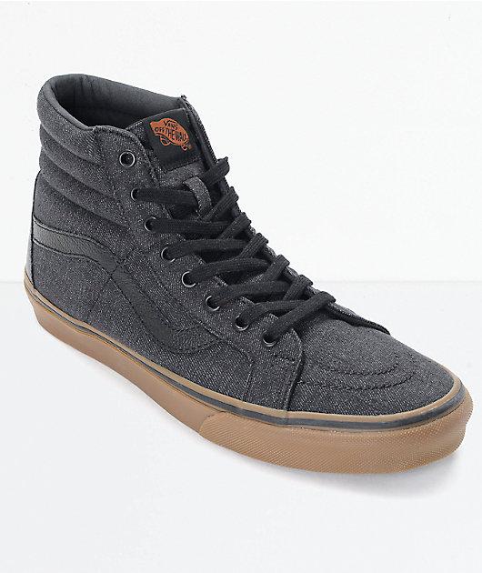 Vans Sk8-Hi CL Black Denim \u0026 Gum Skate