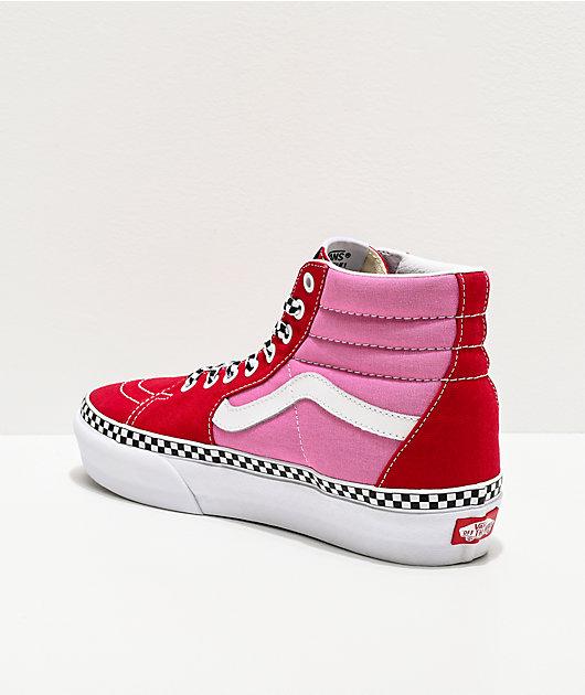 Vans Sk8-Hi Checkerboard Foxing Chili Red & Pink Platform Shoes
