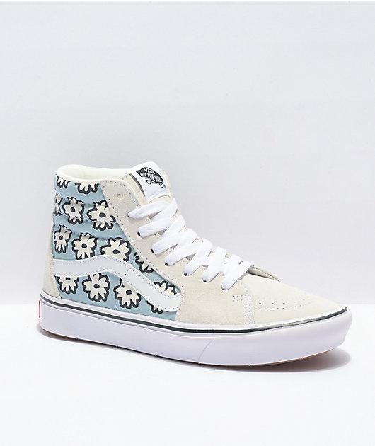 Vans Sk8-Hi ComfyCush Mixed Cozy White & Blue Skate Shoes