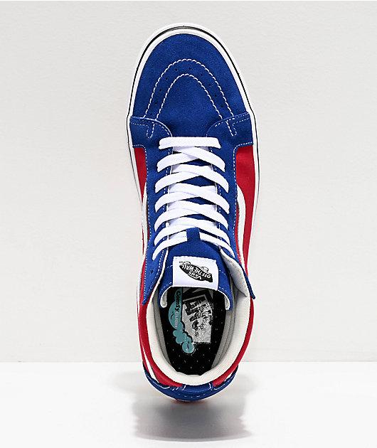 Vans Sk8-Hi ComfyCush Red Chili & Blue Skate Shoes