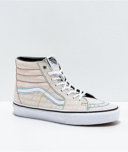 Vans Sk8-Hi Emboss White & Multi Skate Shoes