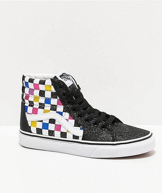 Vans Sk8-Hi Glitter Checkerboard Black