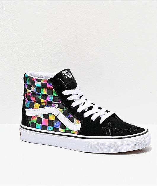 Vans Sk8-Hi Iridescent Checkerboard Skate Shoes