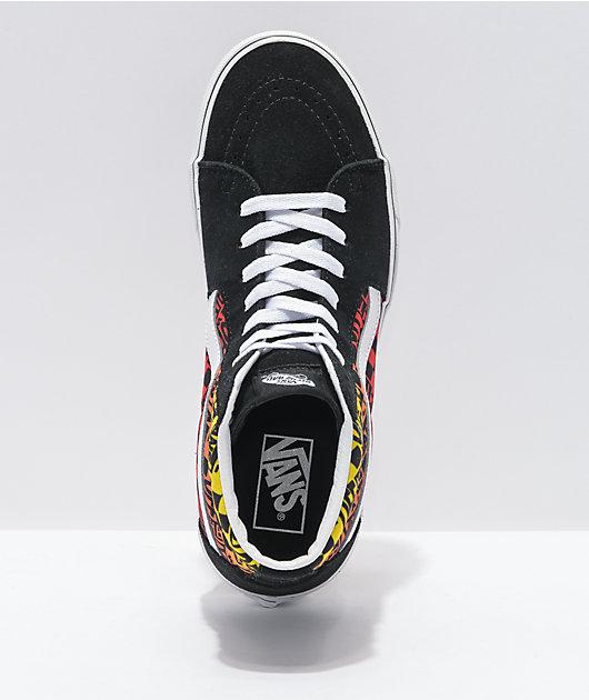 Vans Sk8-Hi Logo Flame Orange, Black & White Skate Shoes