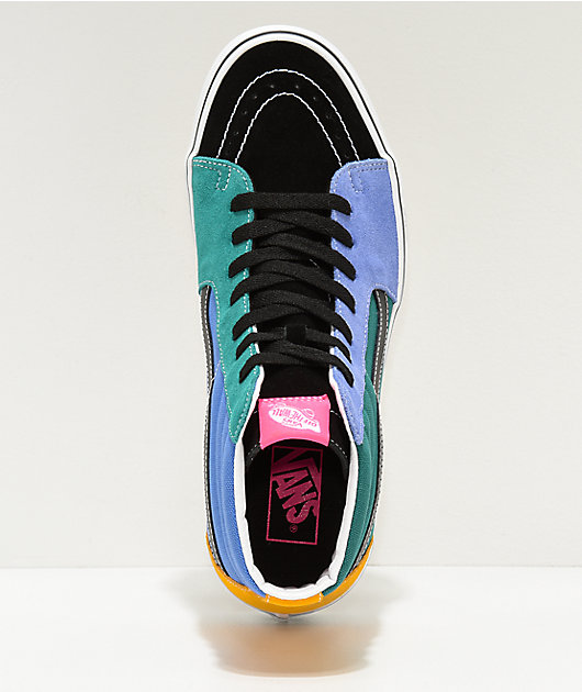 Vans Sk8-Hi Mix Colorblock Yellow & Tidepool Skate Shoes