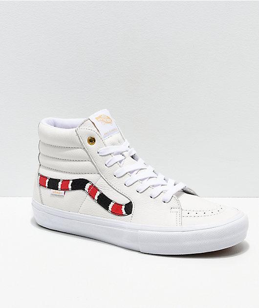 Vans Sk8-Hi Pro Coral Snake & White Leather Skate Shoes