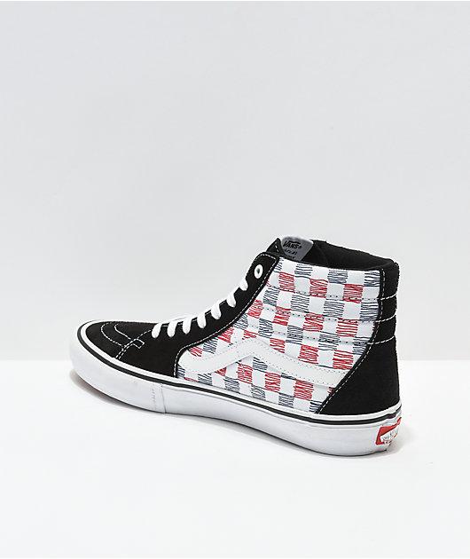Vans Sk8-Hi Pro Sketch Check Black & White Skate Shoes