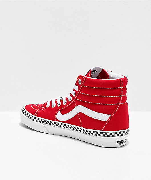 Vans Sk8-Hi Red & White Checkerboard Foxing Tape Skate Shoes