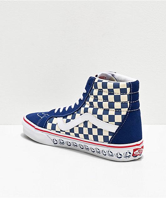Vans Sk8-Hi Reissue BMX Checkerboard Navy, White & Red Skate Shoes