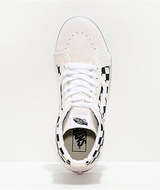 Vans Sk8-Hi Reissue BMX zapatos de skate blancos y negros de cuadros