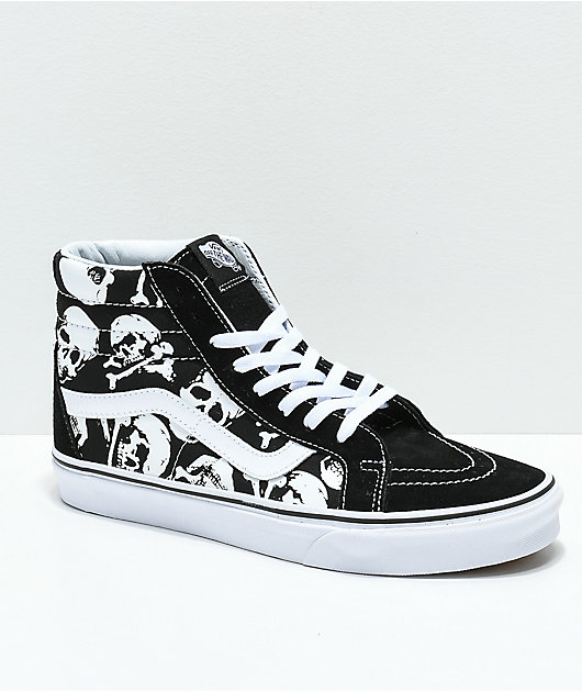 Vans Sk8-Hi Skulls Black & White Skate Shoes