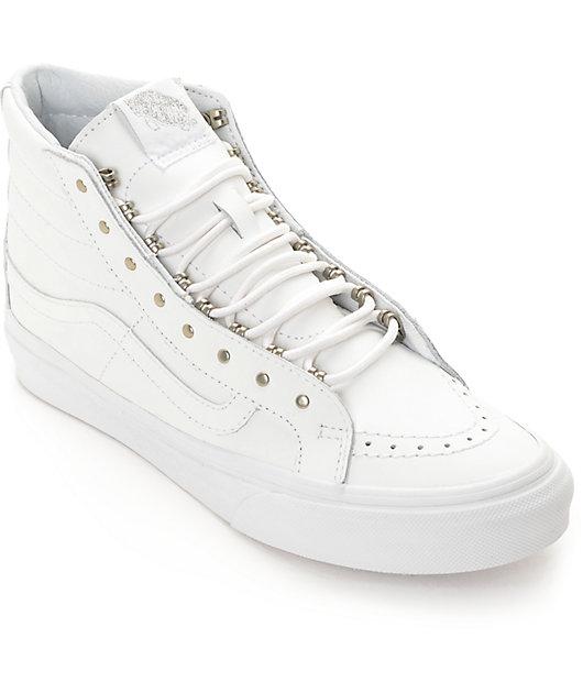 Vans Sk8 Hi Slim Rivets White Leather