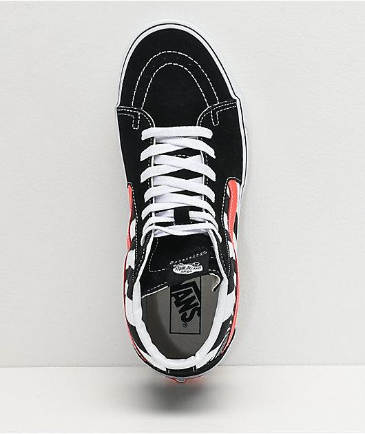 Vans Sk8-Hi Swirl Black, White & Fiery Coral Skate Shoes
