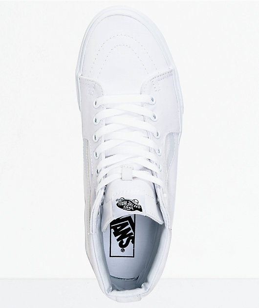 Vans Sk8-Hi True White Canvas Skate Shoes