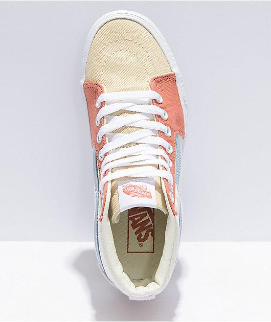 Vans Sk8-Hi Twill Pastel Block Platform Shoes