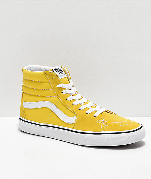 Vans Sk8-Hi Vibrant Yellow & White Skate Shoes