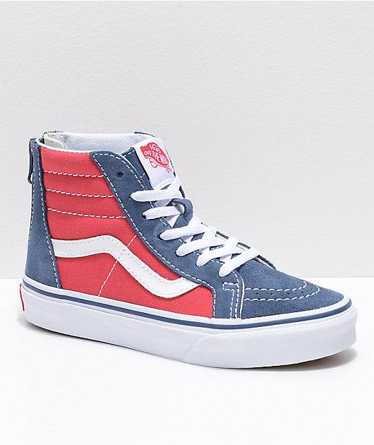 Vans Sk8-Hi Zippered Indigo \u0026 Red Skate