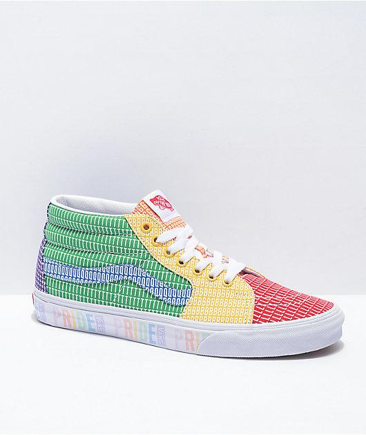 Vans Sk8-Mid Pride Multi & White Skate Shoes