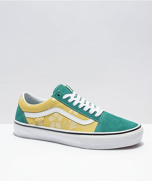 Vans Skate Old Skool Aloha Marine Green & Gold Skate Shoes
